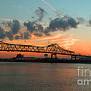 Sunset On The Mississippi  Art Print