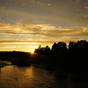 Sunset On The Rogue River Art Print