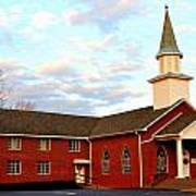 Sunset Over A Church In North Carolina Art Print