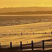 Sunset Over Beach In Winter Youghal Art Print