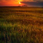 Sunset Over Field Art Print