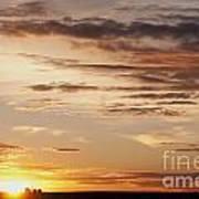Sunset Over Grain Bins Art Print