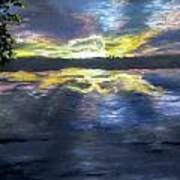 Sunset Over Mystic Lakes Art Print
