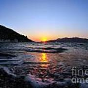 Sunset Over The Waves Art Print