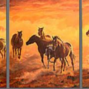 Sunset Run Triptych Art Print