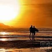 Sunset Surfers Art Print by Richard Thomas