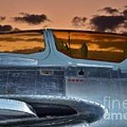 Sunset Through The Cockpit Art Print by Lynda Dawson-Youngclaus