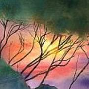 Sunset Through The Trees Art Print