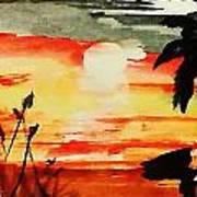 Sunset Under The Palm Tree Art Print