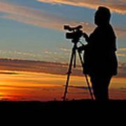 Sunset Videographer Art Print