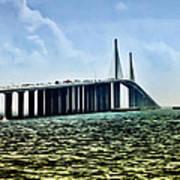 Sunshine Skyway Bridge - Tampa Bay Art Print by Bill Cannon