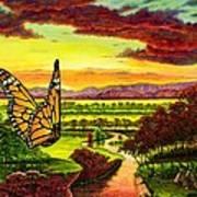 Sunshine Traveler-monarch Art Print