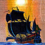 Sunship Galleon On Wood Art Print