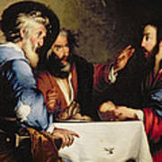 Supper At Emmaus Print by Bernardo Strozzi