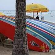 Surfboards On Waikiki Beach Art Print