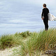 Surfer At The Beach Checking Out The Ocean Waves Art Print