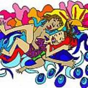 Surfers In Love Art Print