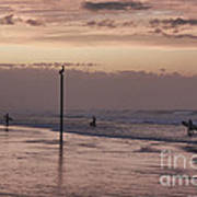 Surfers Pelicans And Pink Sky Art Print
