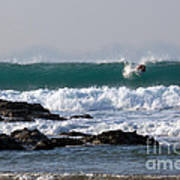 Surfing In Cornwall Art Print by Brian Roscorla