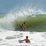 Surfing In The Wake Of Hurricane Irene Art Print