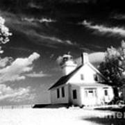 Surreal Black White Infrared Black Sky Lighthouse - Traverse City Michigan Mission Point Lighthouse Art Print