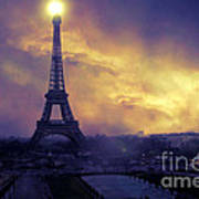 Surreal Fantasy Paris Eiffel Tower Sunset Sky Scene Art Print by Kathy Fornal