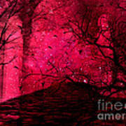 Surreal Fantasy Red Nature Trees And Birds Print by Kathy Fornal