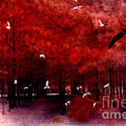 Surreal Fantasy Red Woodlands With Birds Seagull Art Print