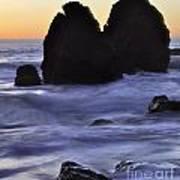 Surreal Surf Cascading On The Rocks Art Print