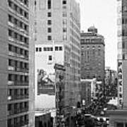 Sutter Street West View . Black And White Photograph 7d7506 Art Print by Wingsdomain Art and Photography