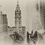 Swann Memorial Fountain In Sepia Art Print