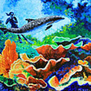 Swimming With The Dolphins Art Print
