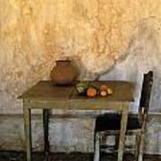 Table And Chairs Infront Of Weathered Art Print