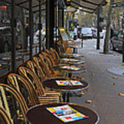 Tables Outside A Paris Bistro On An Autumn Day Art Print
