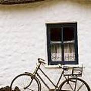 Tahtched Cottage And Bike Art Print