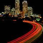 Taillights Toward Charlotte Skyline Art Print