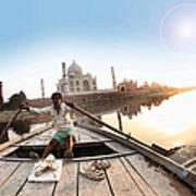 Taj In Sun Light Art Print