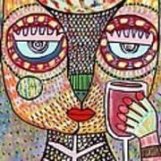 Talavera Feather Owl Drinking Red Wine S Art Print