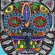 Talavera Sugar Skull Owl Art Print