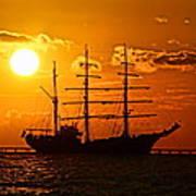 Tall Ship At Sunset Art Print