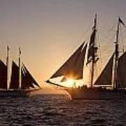 Tall Ships At Sunset Art Print