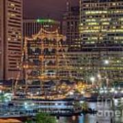 Tall Ships Docked At Inner Harbor Art Print
