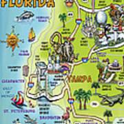 Tampa Florida Cartoon Map Art Print