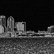 Tampa Panorama Digital - Black And White Art Print