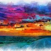 Taos Sunset Iv Watercolor Art Print