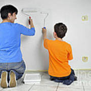 Teamwork - Mother And Child Painting Wall Art Print by Matthias Hauser