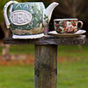 Teapot And Tea Cup On Old Post Art Print by Garry Gay