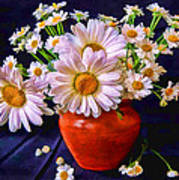 Technicolor Daisies In An Orange Pot Art Print