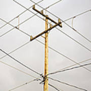 Telephone Pole And Electric Cables Art Print