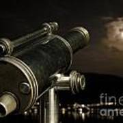 Telescope And Red Moon Art Print
